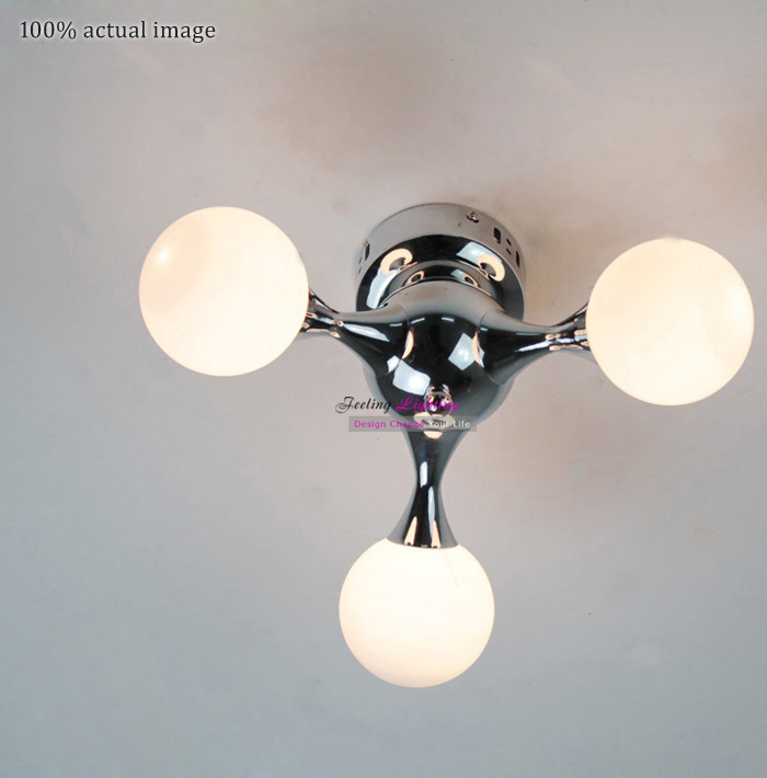 Free Shipping new product Discount 3 lights Robot dog DNA Ceiling lamp White Glass lampshade Ceiling light Plated Ceiling lights<br><br>Aliexpress