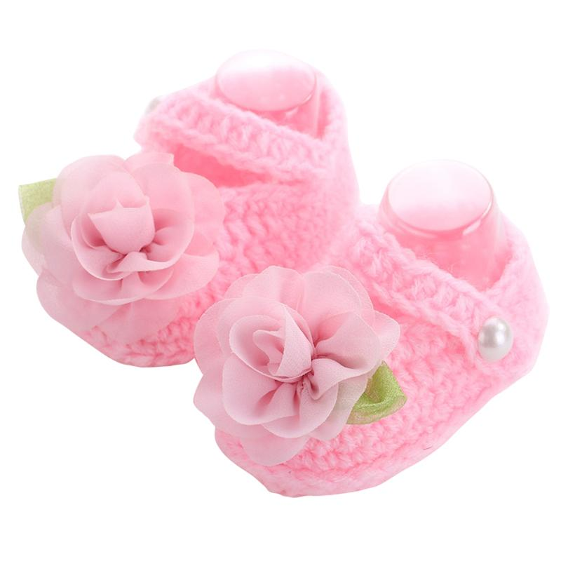 Brand Baby Shoes Handmade First Walker ,Baby Knitted Shoes Girls Crochet,Sapatos Infantis Meninas,Flower Baby Slippers Shoe,(China (Mainland))