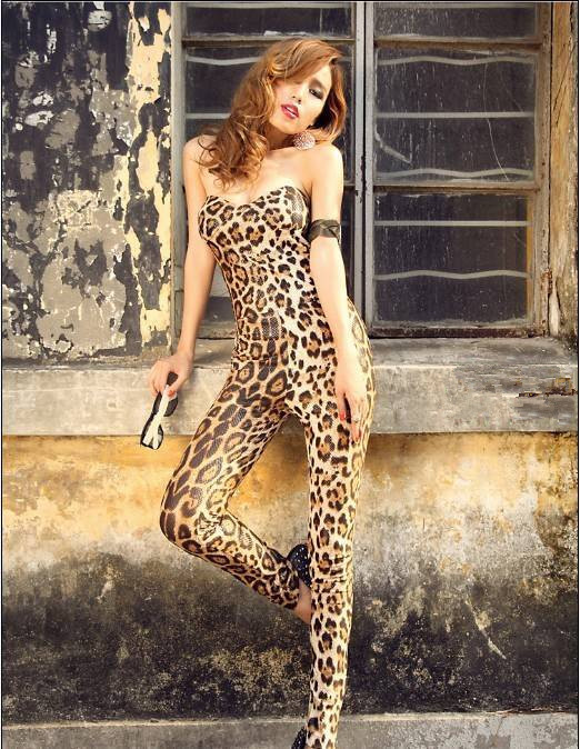 Free shipping 2016 European style nightclub sexy yellow leopard wrapped chest piece pants S0219(China (Mainland))