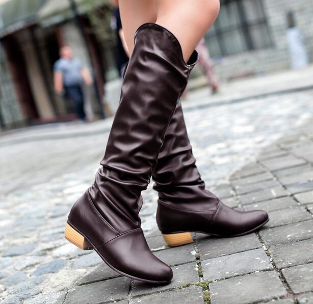 2014 New women's boots Autumn&Spring Low-heeled knee-high Fashion&Sweet PU lady shoes Big size 34-43 saj655