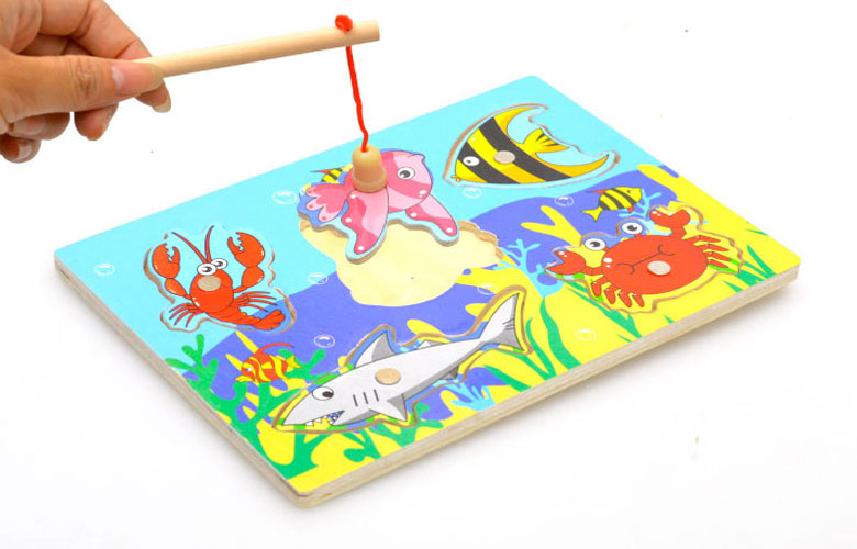 2016 New Cute Creative Wooden Magnetic Fishing Game & Jigsaw Puzzle Board Children Toy(China (Mainland))