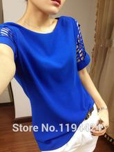 2015 Fashion Women Plus Size Blouses  Summer Women's Hollow Short-sleeve Shirts Chiffon Top  Blusas feminino XXL XXXL(China (Mainland))