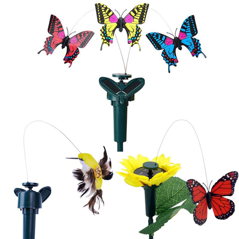 Solar Panel Vibration Solar Power Dancing Flying Butterfly Fluttering Garden Dec-Hummingbird Decoration(China (Mainland))