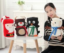 Plush roll blanket 1pc 100cm cartoon Santa Claus elk snowman penguin soft flannel office rest toy creative gift for kids baby