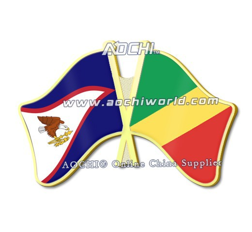 Hot Selling Best Selling High Quality American Samoa and Congo Crossed Flags Lapel Pins(China (Mainland))