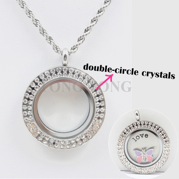 New Arrival! 28mm magnetic closure silver 316L stainless steel floating memory locket with double-circle czech crystals<br><br>Aliexpress