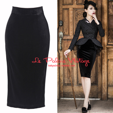 Le Palais Vintgae 2015 New Winter Autumn All-match Vintage Classic Black Velvet High Waist Pencil Skirt Solid Elegant Clothing