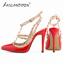 Fashion rivets shoes high-heeled pointed toe hasp thin heels sandals rivet valentin pointed toe shoes female sandals 302-5PA