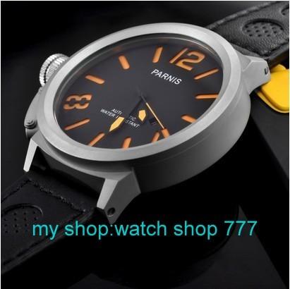Бесплатная доставка 55 мм Большой циферблат PARNIS мужские часы Автоматические механические часы оранжевый Число часы оптом