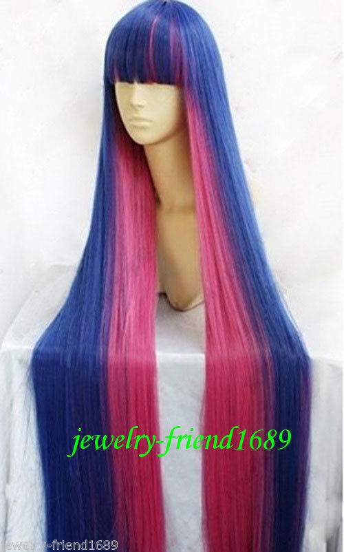 RH1400 discount 30% New Cosplay Angel Stocking Blue Pink Red Mix Straight Long Wig<br><br>Aliexpress
