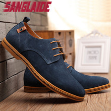 SANGLAIDE 2016 New Fashion Men's Casual Genuine Leather Shoes Suede Plus Max Size Loafer Fleece Warm Male Solid color Lace Up(China (Mainland))