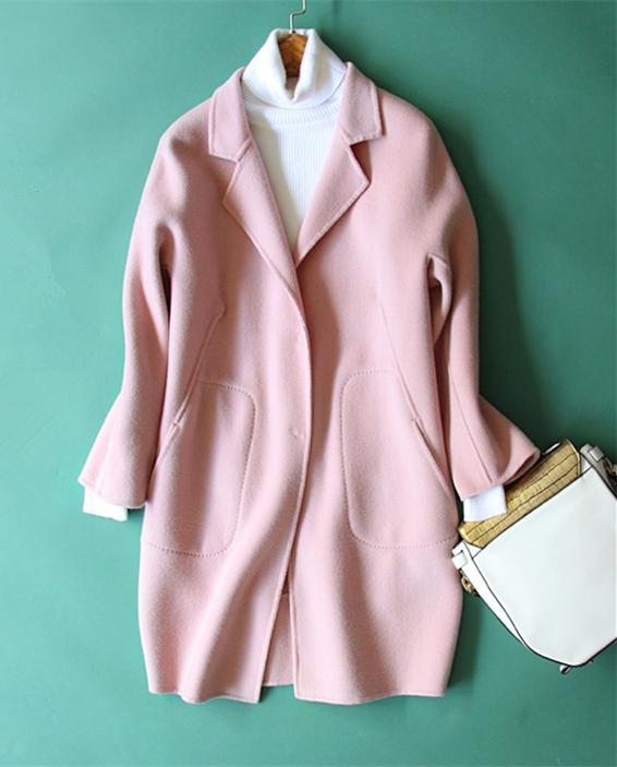 cocoon type suits collar ladies fashion mid-long coat double-sided woolen overcoat S/M/L free shippingÎäåæäà è àêñåññóàðû<br><br>