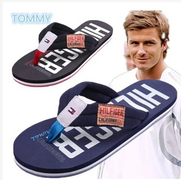 Free shipping 2014 New Beckham summer fashion brand fashion rubber wear-resistant Men flip flops shoes beach slippers(China (Mainland))