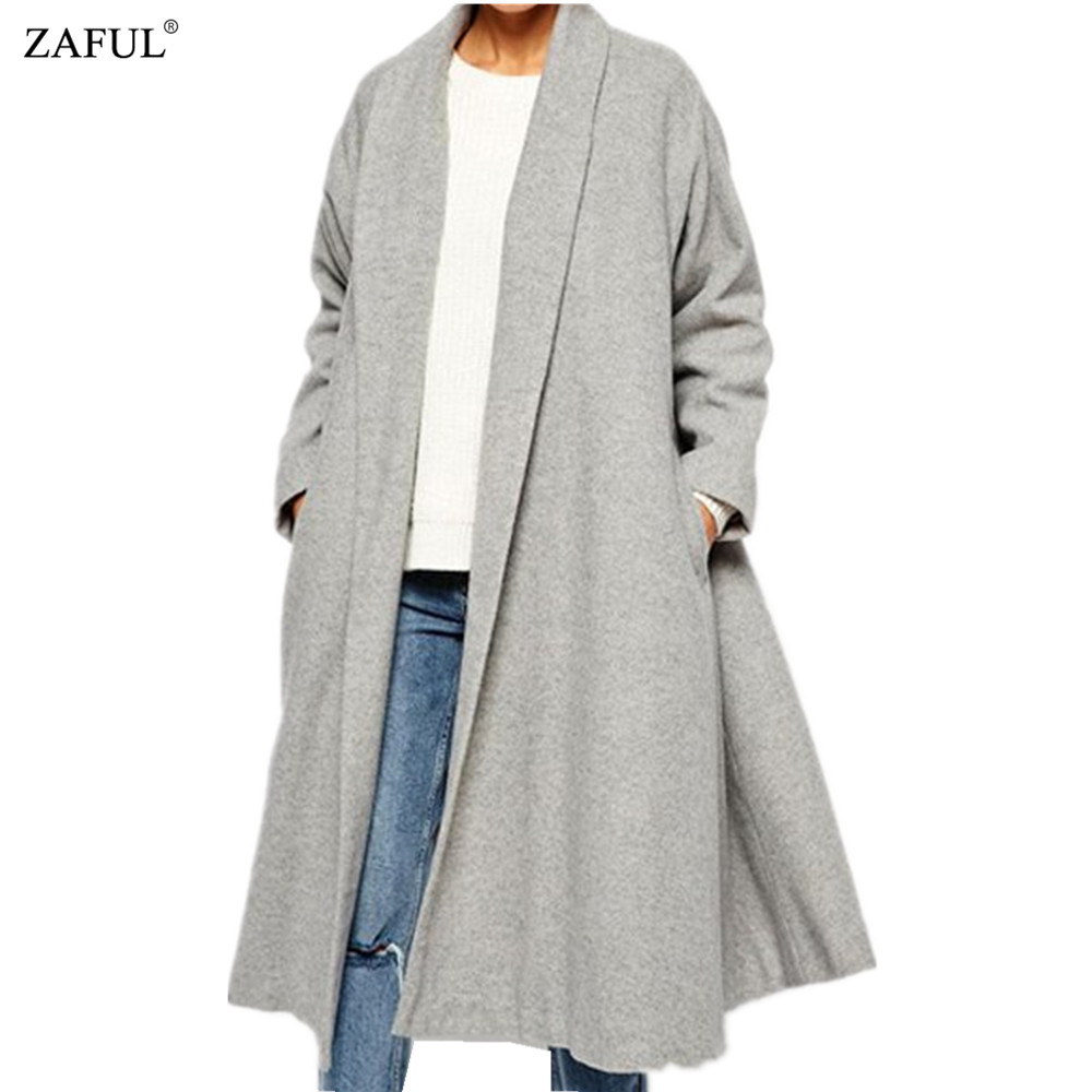 ZAFUL Autumn Winter Wool Cardigans Women Casual Long Sleeve Pockets Shawl Neck Warm Oversized Long Outwear Loose Gray Wool Coat(China (Mainland))