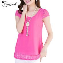Summer Style New 2016 Women Chiffon Blouses Casual Lace Floral Patchwork Plus Size Short Sleeve Shirts Blusa Feminina WCX925(China (Mainland))