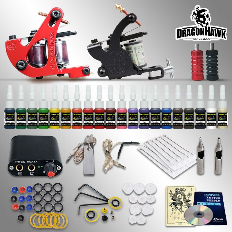 Beginner tattoo starter kits 2 guns machines 20 ink sets power supply disposable needle pedal tips D1015NS(China (Mainland))