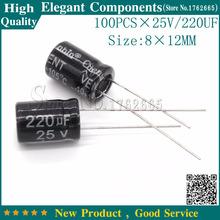 Buy 100PCS 25V 220UF 25V 220UF Aluminum Electrolytic Capacitor 25 V / 220 UF Size 8*12MM Electrolytic capacitor for $3.00 in AliExpress store