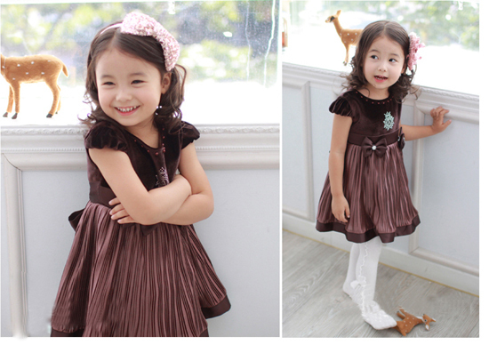 Free Shipping!2014 New fashion summer girls Chiffon dress girls lovely dress with bow Children's Clothing for 2-8Y