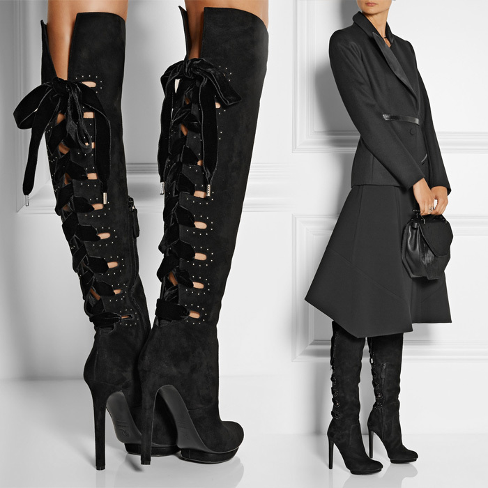 Sapatos Femininos 2014 Autumn Cross Strap Back Lace Up Leather Boot Black Suede Women Booties Platform Heels Knee High Boots(China (Mainland))