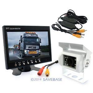 "HOMSECUR Wireless Ccd Rversing Camera + 7"" Tft Lcd Rear Monitor White Motorhome Caravan(China (Mainland))"