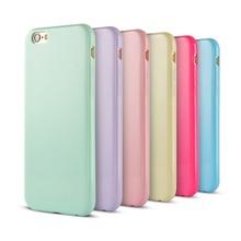 Твердые конфеты тпу резиновые чехол для iPhone 6 iPhone 6 S 4.7 дюймов кремния чехол глянцевая задняя крышка для iPhone 6 S 16 цветов