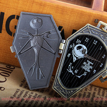 2016 New Arrival Top sales The Nightmare Before Christmas Jack Skull Skeleton Quartz Pocket Watch Mens Lady Halloween Gifts P304(China (Mainland))