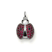 European Style Silver Plated Austrian Crystal CZ Garnet Ladybird Beetles Charm Pendant & Necklace Free Shipping TS-PA038(China (Mainland))