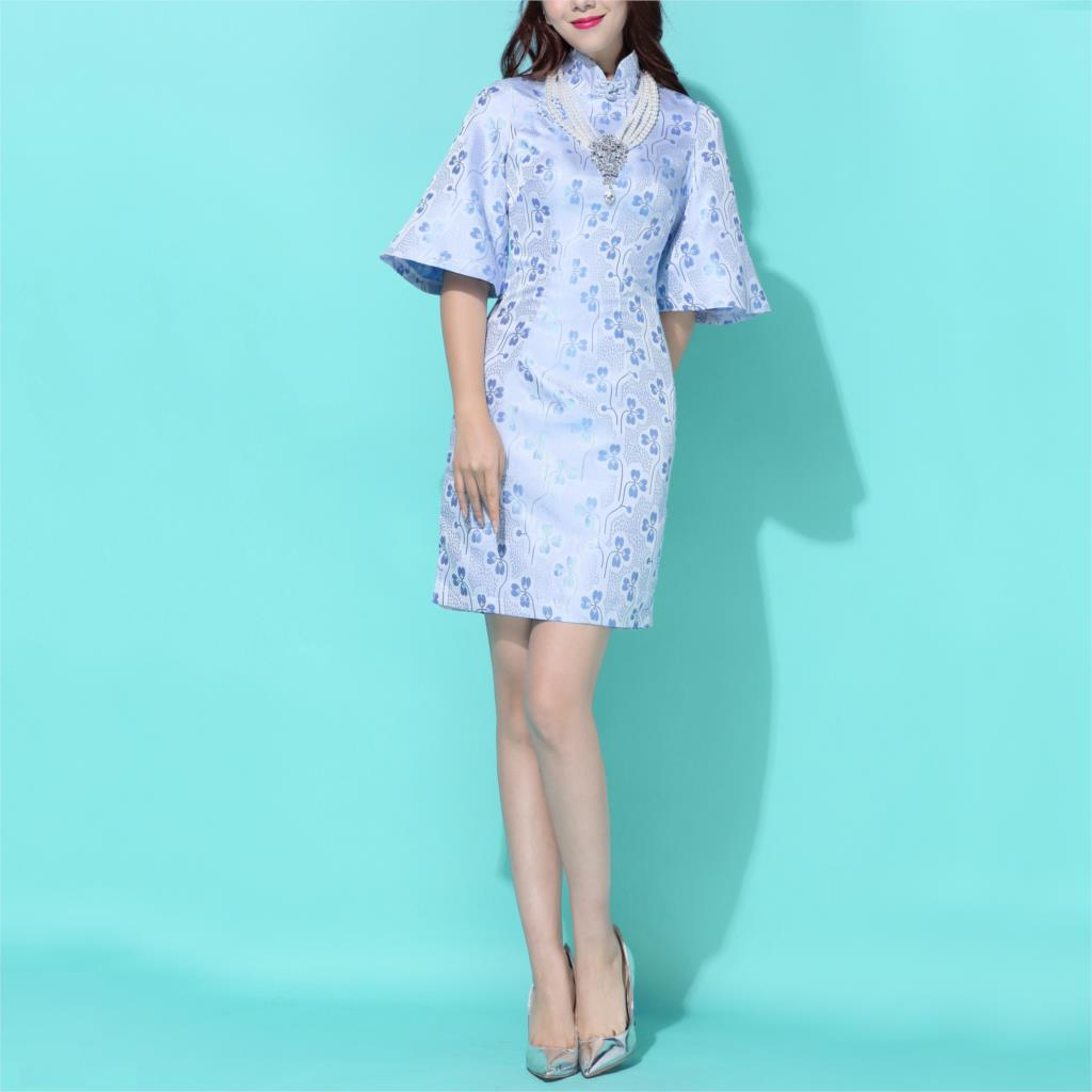 2016 spring short sleeve stretch cotton flax cheongsam the bride toast formal dress short dress qi pao chinese style(China (Mainland))