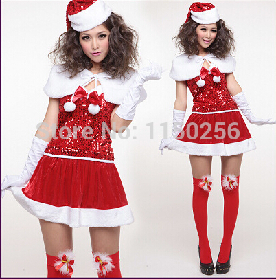 New Free Shipping Sexy Girls Sequins Cosplay Fancy Dress Santa Costume Set New Year Red Woman Merry Christmas Costumes(China (Mainland))