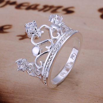 R034 Gem-set Crown Ring Factory Price! High Quality, Free Shipping 925 Silver Rose Ring. Fashion Jewellry Silver Rings
