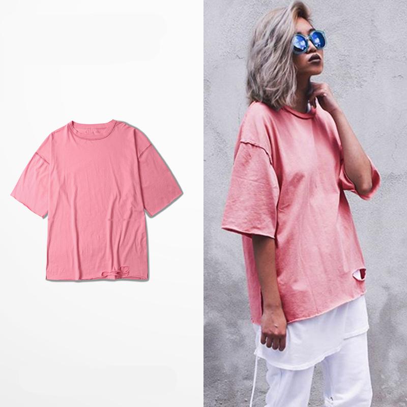 High Street T Shirt Kanye West Season 1 Tees Hip Hop Oversize T-Shirt Men Women Streetwear Rose Red Pink Pullover Tops(China (Mainland))