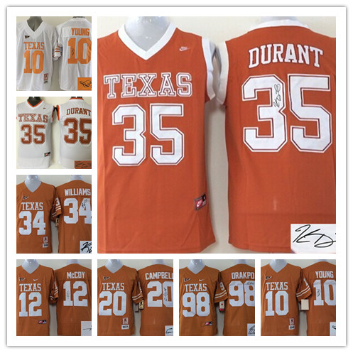 signature Texas Longhorns 10 Vince YOUNG 12 Colt McCoy 20 Earl Campbell 34 Connor Williams 35 Kevin Durant 98 Orakpo,camouflage(China (Mainland))