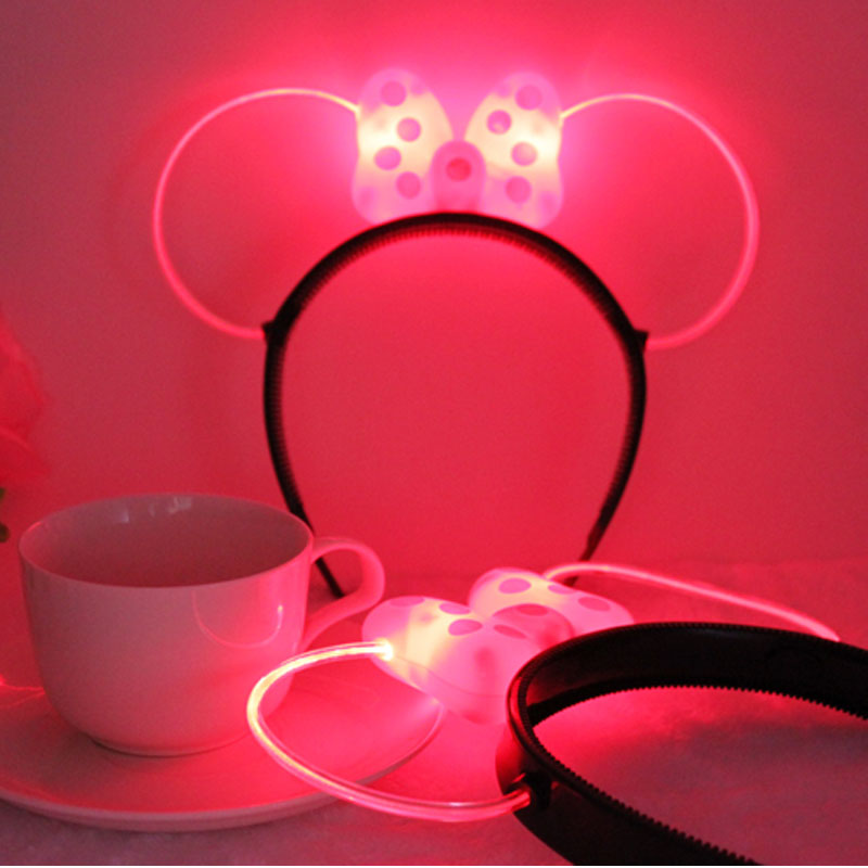 Novelty Women Girls Minnie Mouse Cool Light up Led Bows Headbands Birthday Party Girls Woman Hair Accessories Decorations(China (Mainland))