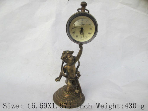 Christmas Gift Rare ancient copper can use mechanical clock timer angel watches and clocks(China (Mainland))