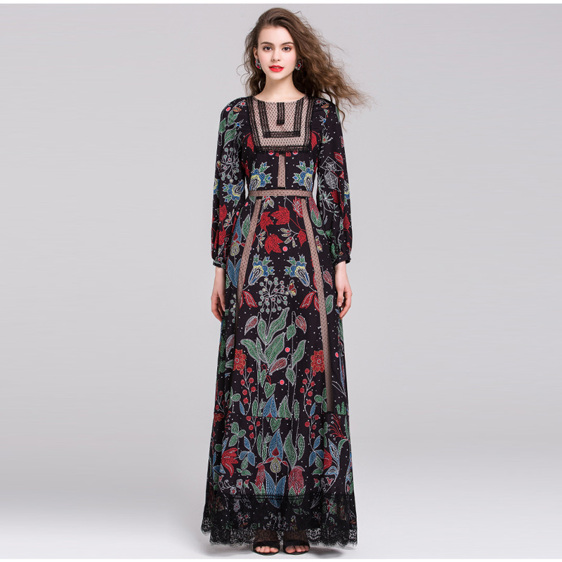 HIGH QUALITY New Fashion 2016 Runway Maxi Dress Women's Long Sleeve Lace Patchwork Retro Floral Print Long Dress