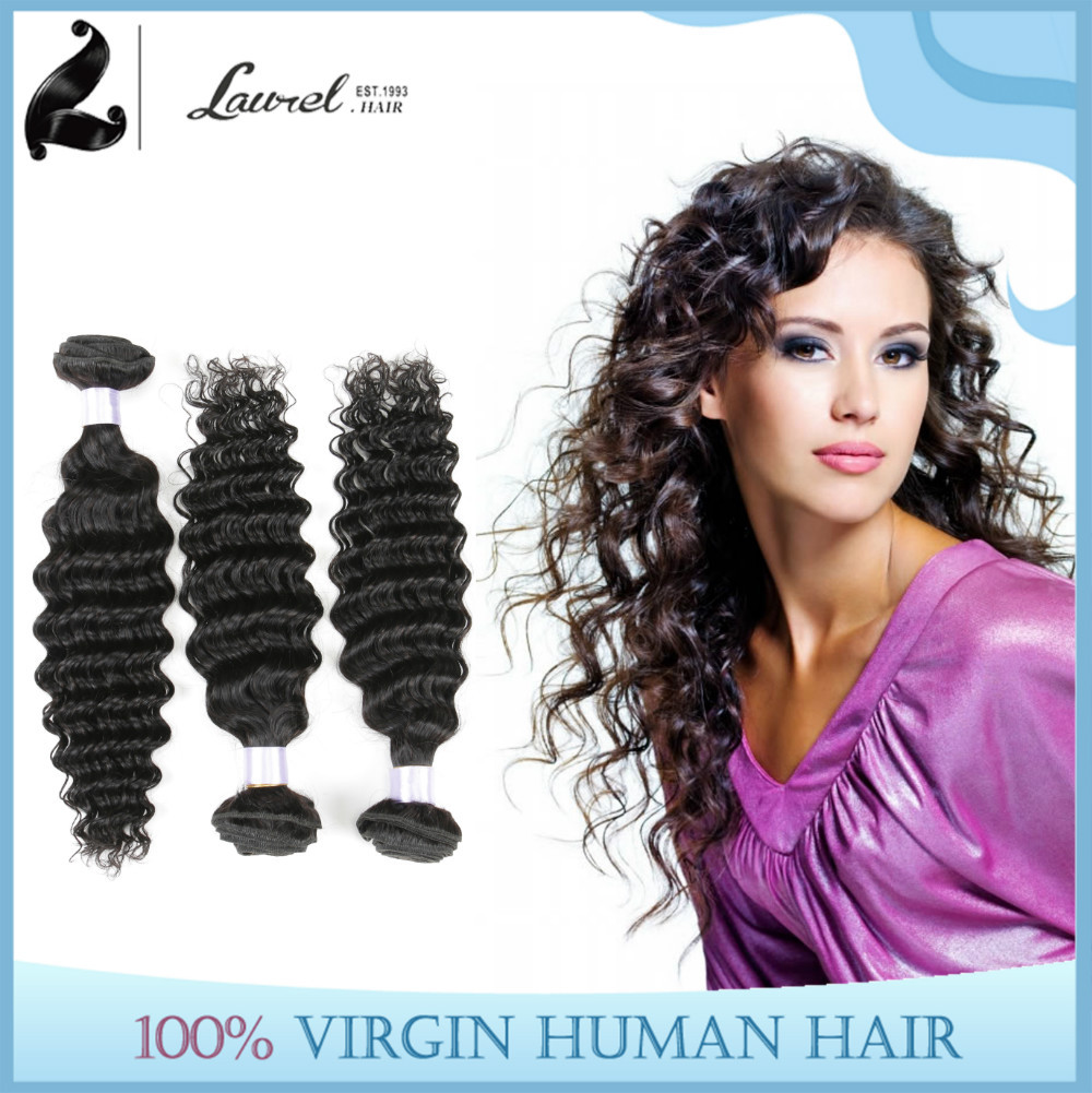 6A Virgin Malaysian Natural Wave Hair Bundles Malaysian Deep Wave 100% Human Hair Weaving Cheap Humna Hair 4 Bundles Deals #1B(China (Mainland))