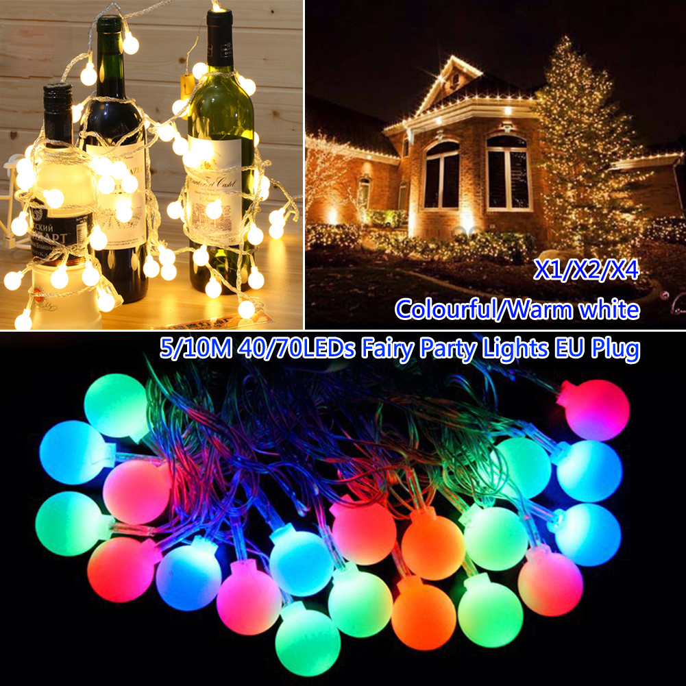 TSLEEN EU 40/70 LED Lights String Pendant Ball Lamp Garden Party Gallery Supplies Christmas Xmas Tree Home Decorations