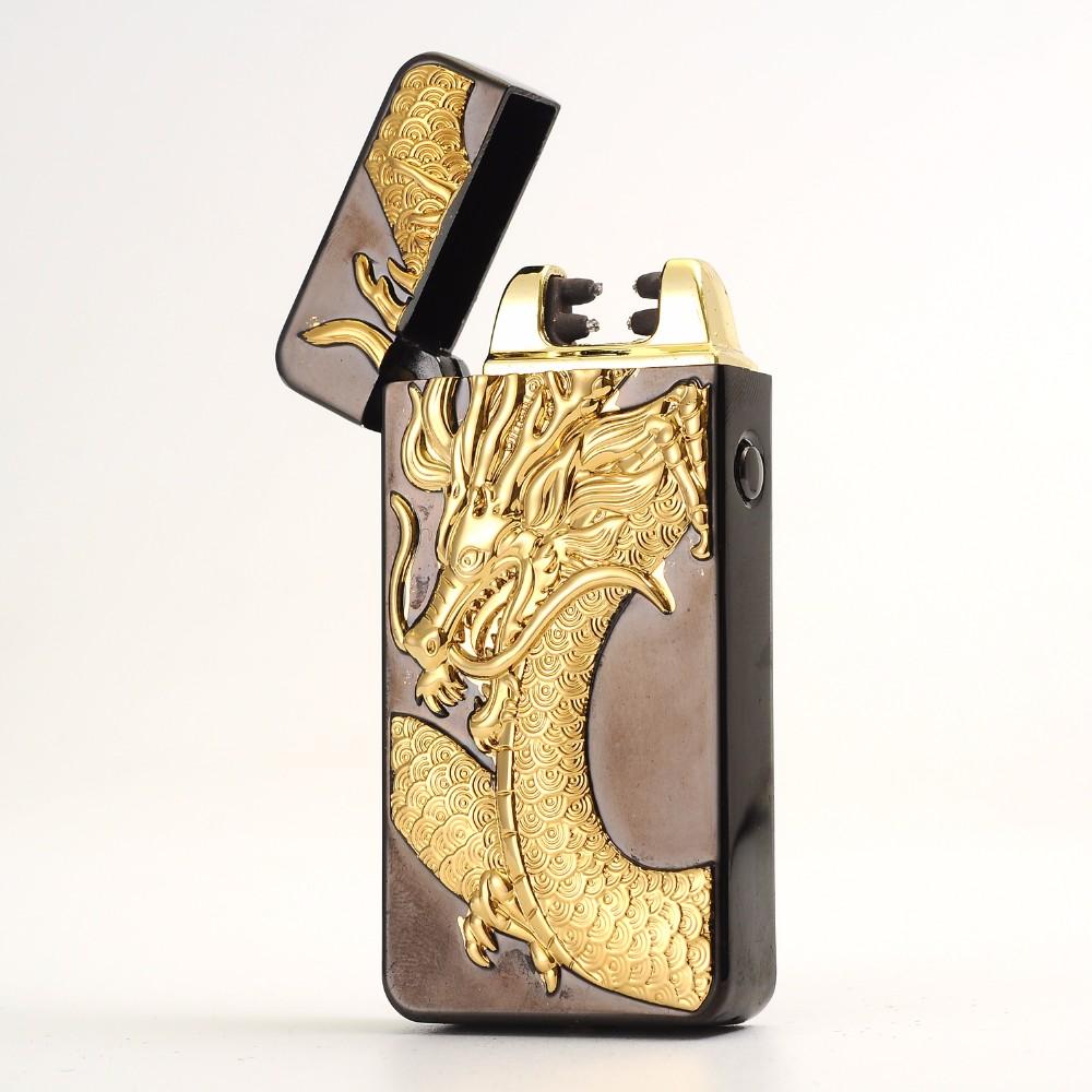 ถูก ใหม่ล่าสุดusbชาร์จไฟฟ้าคู่arcพลาสม่าทรอนิกส์ไฟแช็windproofสำหรับสูบบุหรี่บุหรี่ซิการ์ของขวัญ