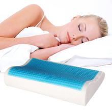 Newest Memory Foam Orthopedic Sleep Blue Cooling Comfort Gel Bed Pillow Cushion 19.7*11.8*3.9-2.4inches(China (Mainland))