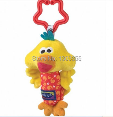 Kids Baby Soft Toy Animal Handbells Rattles Bed Stroller Bells Developmental Toy yellow duck(China (Mainland))