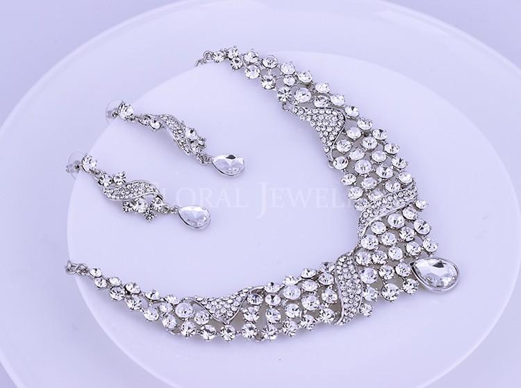 Мода Водослива Форма Rhinestone Свадьба Колье и Серьги Наборы для Женщин TL301