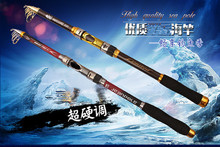 Superhard Portable Telescopic fishing rod Spinning Fishing Tackle Carbon Fiber Boat Rock Sea Rod Fishing Set