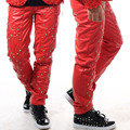 28 42 Fashion stage Costume Rivet punk personality male leather pants male slim men s clothing