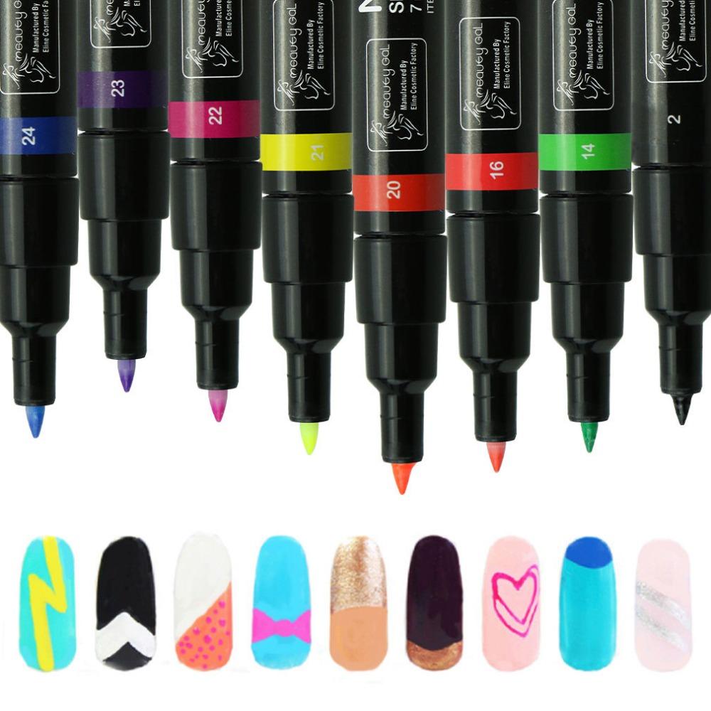 Non-Toxic Nail Art Polish Pen Nail Gel Polish Drawing Pen Nail Art Accessories Dotted Pen Choose 5 Colors Manicure Pencil(China (Mainland))