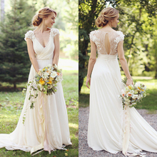 Buy Vintage Bohemian Lace Wedding Dress 2017 Illusion Back Beach Wedding Dresses Simple Chiffon Boho Wedding Gown Vestido De Noiva for $130.05 in AliExpress store