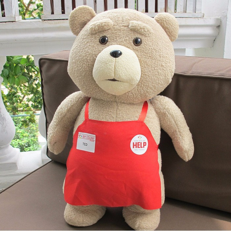 2016 new Big size Teddy Bear Ted 2 Plush Toys In Apron 48cm Soft Stuffed Animals Ted Bear Plush Dolls for baby kids gifts(China (Mainland))