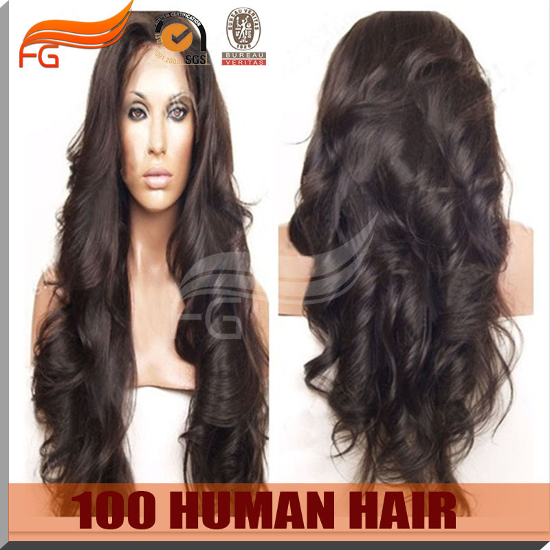 Free shipping super wave silk top wig , natural brown silk top full lace wig 4x4 size glueless cap(China (Mainland))