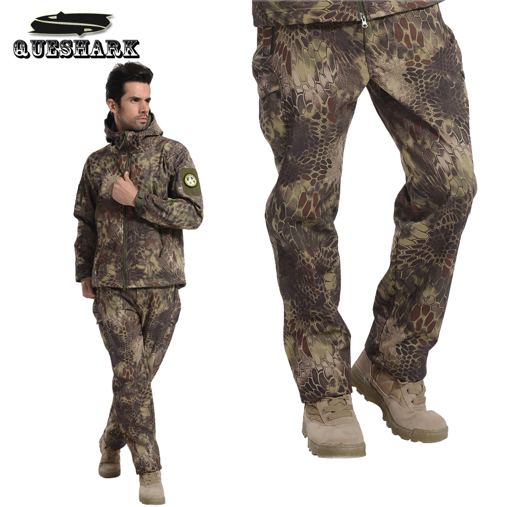 Tactical Military Camouflage Waterproof Shark Skin Softshell Trousers Men Winter Sport Warm Fleece Hunting Hike Outdoor Pants