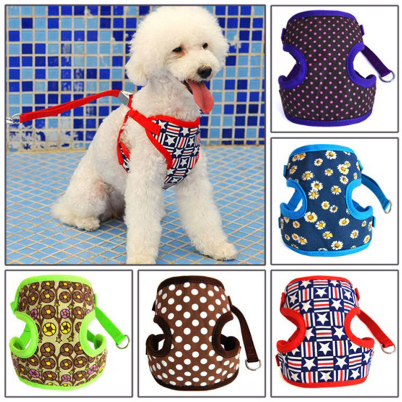 Pet Dog Adjustable Collar and Leads Cat Harness Cute Safety Control Size S/M for Small Medium Pet Dog Animal,Pet Product(China (Mainland))