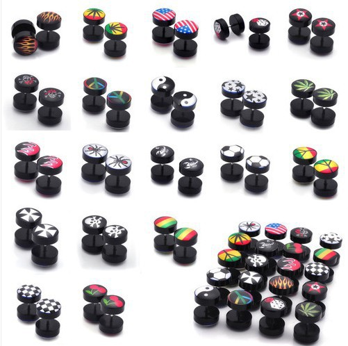 NEW 40pc 8MM Acrylic Fake Cheater Plug Taper Tunnels Ear Stud Extender Stretcher Ear plugs Fake Plug Body Fashion Jewelry(China (Mainland))